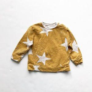 Zara mustard star sweatshirt EUC 12-18 months